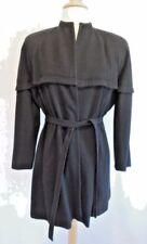 1940's WW2 Era VINTAGE Black Wool Coat Jacket Double Cape Wasp Waist Dolman M