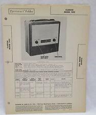 Vintage Photofact Folder Clarion Model 11011 Radio Parts Manual