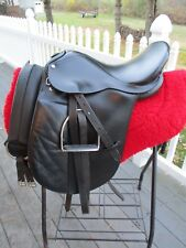 17'' BLACK LEATHER ENGLISH DRESSAGE  SADDLE w LEATHERS & IRONS WIDE TREE & GIRTH