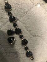Vintage Taxco 950 Modernist Design Sterling Silver Onyx Big Bracelet & Earrings