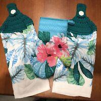 Hawaiian 3 Pieces Cotton Kitchen Set Pot Holder Oven Mitt Towel Blue Turtles NIB