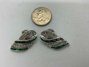 Signed Boucher Vintage Green Clip On Earrings