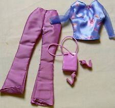 BARBIE DOLL MIX N MATCH STYLE RASPBERRY COLORED PANTS & BLUE TOP + ACCESSORIES