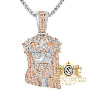 Genuine Sterling Silver Simulated Diamond Jesus Face Piece Charm Pendent 1.75''