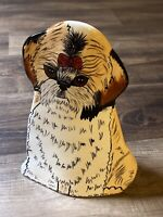 "DOGS BY NINA VASE Shitzhu Llasa Apso  8"" Ceramic Nina Lyman Red Bow Pottery"