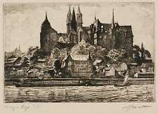 MEIßEN / MEISSEN - Albrechtsburg & Logenhaus - Arthur Barth - Radierung 1914