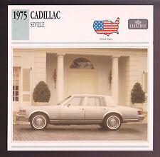 1975 Cadillac Seville Car Photo Spec Sheet Info Stat ATLAS CARD