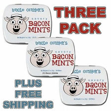 BACON MINTS - 3 PACK - FLAVORED BREATH MINT MEAT FLAVORED CANDY GAG GIFT TIN