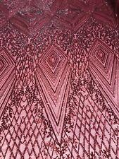 4 Way Stretch Fabric - Burgundy Geometric Power Mesh Sequins Fashion By The Yard