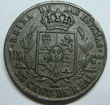 SPAIN 1854 SEGOVIA 25 CENTIMOS DE REAL ISABEL II COPPER SPANISH COIN