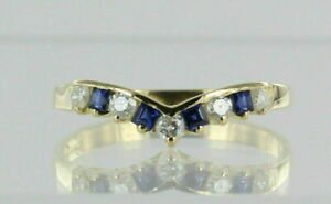 1Ct Round & Princess Cut Blue Sapphire Curved Wedding Band 14K Yellow Gold Over