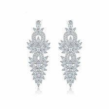 Antique Long Dangle Earrings Marquise-cut and Round-cut Inlay Cubic Zirconia