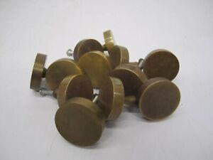 Set 12 Vtg Solid Brass Metal Dresser Drawer Cabinet Pull Handle Knob Round Flat