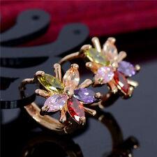 Elegant Women Gold Plated Ear Stud Crystal Rhinestone Hoop Earrings Color Flower