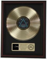 "PINK FLOYD DARK SIDE OF THE MOON GOLD LP RECORD FRAMED CHERRYWOOD DISPLAY ""K1"""