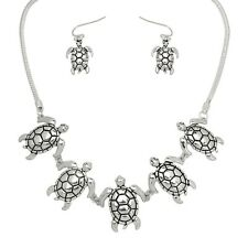 "Sea Turtle Fashionable Necklace & Earrings Set - Fish Hook - 18"" Chain"