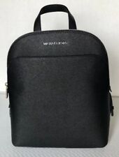 New Michael Kors Emmy Large Leather Backpack Black with Silver tone hardware