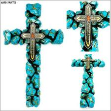 Western Country Rustic Faux Turquoise Stone Jewels Wall Cross Decor Gift 7x12