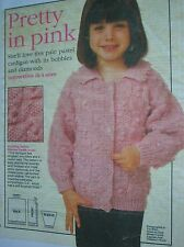 Lovely double knitting pattern for childs cardigan in three sizes 18in- 24in