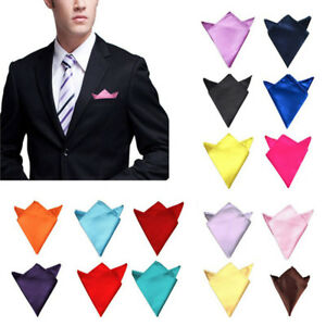 Fashion Men's Satin Silk Pocket Square Hankerchief Formal Wedding Party Decor