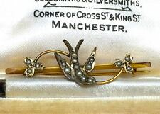 Antique Victorian Seed Pearl Bird Brooch 9ct Gold