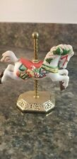 1986 Porcelain Christmas Carousel Horse on Solid Brass Stand by Willitts No 5775