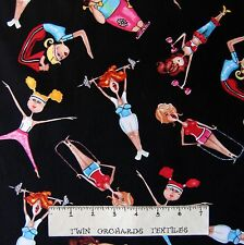 Sports Fabric - Work It Girl Exercise Fitness Black - Timeless Treasures YARD