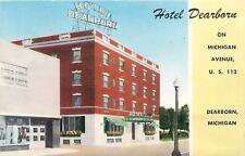Hotel Dearborn Michigan~Store Mannequins in Windows Next Door~1950s Postcard