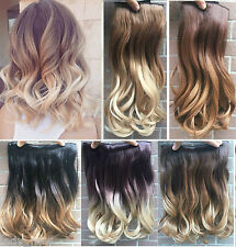"""17"""" Short Ombre Hair Thick One Piece Half Head Dip Dyed Clip in Hair Extensions"""
