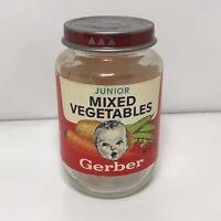 Vintage Gerber Baby Food Jar Red Label Junior MIXED VEGETABLE