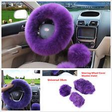 Purple Universal Woolen Long Plush Steering Wheel Cover Car Grips Accessory