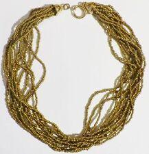 collier bijou vintage année 70 superbe 12 rangs petites perles couleur or * 5010