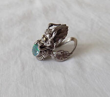Unusual Vintage Silver Chinese Dragon Ring with Stone UK M - N US 6.5