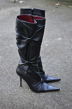 XALTRE Black Soft Leather Button Pointy Toe Knee High Tall Stiletto Boots 38 / 8