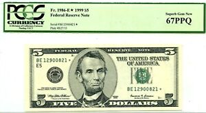 $5 1999 FEDERAL RESERVE STAR NOTE RICHMOND  F 1986 E *  LUCKY MONEY VALUE $750