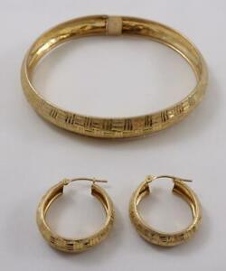 10K yellow gold ladies decorative bangle hinged bracelet +matching hoop earrings