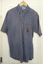 Disney Men's Size L Button Down Shirt Plaid Tigger Embroidery Blue J17