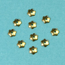 4MM 14k Solid Yellow Gold Flower bead Cap Findings (10)