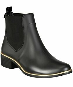 Kate Spade New York Black SEDGEWICK Rain Boots Bootie Ankle Shoes Flats 9 10 NEW