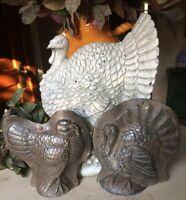 SET Primitive Antique Tin Style Turkey Silver Resin Chocolate Mold Halloween