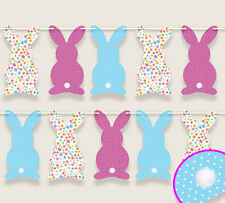 Easter Bunny Banner Bunting Garland Party Decoration with bob tails