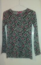 Monster High Shirt-Size14-16-Black,Gray,Pink-Animal Print & MH logo-Long Sleeves