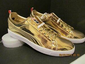 """DEAD STOCK & RARE! PUMA CLYDE GOLD LIMITED EDITION """"NBA ALL-STAR GAME"""" SIZE 11.5"""