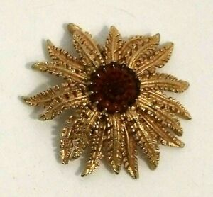 Sarah Coventry 1960's Womens brooch pin Echinacea Gold Tone Amber colour centre