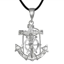 Sterling Silver .925 Crucifix Anchor Cross Mariner Pendant M   Made in USA