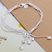 beautiful Fashion silver Pretty heart women solid bracelet wedding Girl 925