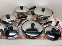 """15 Piece Set Revere Ware Copper 6 Qt Stock 1,2,3 Qt Sauce Pots 7"""" & 10"""" Fry Pans"""