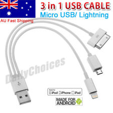 3in1 Charger Cable USB Multi Charging for iPhone 5 6 7 Samsung Galaxy Nokia LG