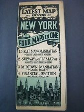 1930s New York Map...Four Maps in One..Baseball Fields,Night Clubs,Air Lines,+