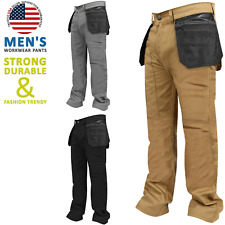 Black Grey Khaki Mens Heavy duty Work Pants Hostler Pocket Cargo Work Trousers